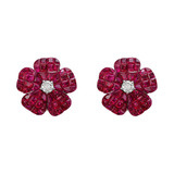 Small Invisibly-Set Ruby & Diamond Flower Earrings
