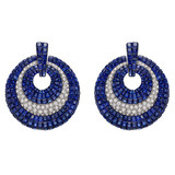 ​Invisibly-Set Sapphire & Diamond Door Knocker Earrings