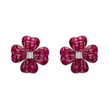 ​Small ​Invisibly-Set Ruby & Diamond Clover Earrings