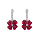 Invisibly-Set Ruby & Diamond Clover Drop Earrings