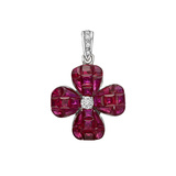 ​Invisibly-Set Ruby & Diamond Clover Pendant