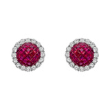 Invisibly-Set Ruby & Diamond Domed Stud Earrings