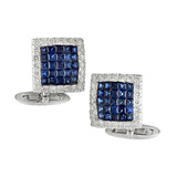 ​Invisibly-Set Sapphire & Diamond Square Cufflinks