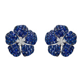 ​Medium Invisibly-Set Sapphire & Diamond Flower Earrings