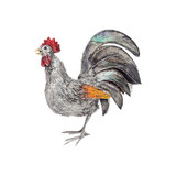 Small Silver &amp; Enamel Rooster Sculpture