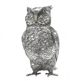 Large Sterling Silver Owl Sculpture