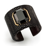 "Black Galuchat ""Octagonal"" Cuff Bracelet with Black Onyx & Diamond"