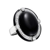 Onyx Cocktail Ring with Diamond