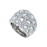 """Bubble"" Diamond, Rock Crystal & Mother-of-Pearl Ring"