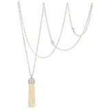 Long Seed Pearl &amp; Diamond Tassel Necklace