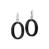 Onyx Oval Drop Earrings with Diamond