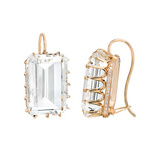 Emerald-Cut Rock Crystal Drop Earrings with Diamond
