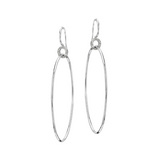 18k White Gold Drop Hoop Earrings with Diamond