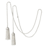 White Agate Bead Double Tassel Lariat