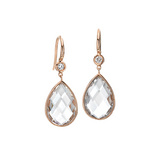 &quot;Mixed Cut&quot; Rock Crystal Drop Earrings with Diamond
