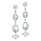 """Bubble"" Rock Crystal & Mother-of-Pearl Drop Earrings"