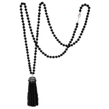 Long Onyx Bead &amp; Diamond Tassel Necklace