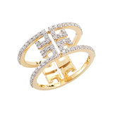 "18k Yellow Gold & Diamond ""Metropolis Sol"" Open Frame Ring"
