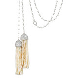 Seed Pearl &amp; Diamond Tassel Lariat