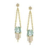 "Prasiolite & Diamond ""Empire"" Chain Drop Earrings"