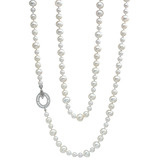 Mixed Size Pearl Long Necklace with Diamond Clasp