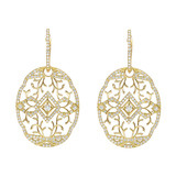 Lace Pattern Diamond Drop Earrings