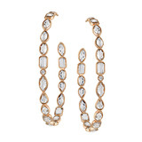 Large 18k Rose Gold & Rock Crystal Hoop Earrings