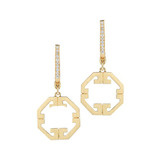 "18k Gold ""Metropolis"" Octagonal Drop Earrings"