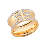 "​18k Gold & Diamond ""Metropolis"" Band Ring"