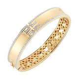 "18k Gold & Diamond ​""Metropolis"" Bangle"
