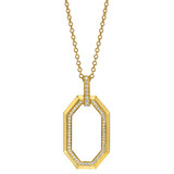 18k Gold &amp; Diamond Octagonal Pendant Necklace