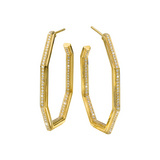 18k Gold Octagonal Diamond Hoop Earrings