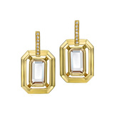 18k Gold Octagonal Link Drop Earrings with Diamond