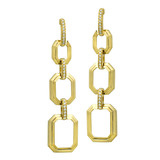 Long 18k Gold Octagonal Link Drop Earrings with Diamond