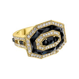 Octagonal Black Spinel & Diamond Cocktail Ring