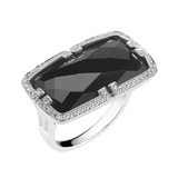 "18k White Gold, Onyx, & Diamond ""Patras"" Ring"