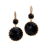 Onyx Drop Earrings with Diamond