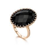 Black Onyx Cocktail Ring with Diamond