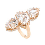 Rock Crystal & Diamond Three-Stone Ring