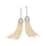 Seed Pearl &amp; Diamond Tassel Earrings