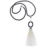 Seed Pearl Tassel Pendant with Carved Black Onyx Oval