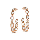 Small 18k Rose Gold & Rock Crystal Hoop Earrings