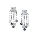 "Black & White Diamond ""Tassel Moderne"" Stud Earrings"
