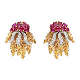 Ruby & Diamond Foliate Earclips
