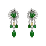 Jade & Multicolored Diamond Chandelier Earrings