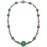 Carved Jade, Ruby, Pearl & Diamond Bead Necklace