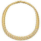 Jose Hess 14k Gold & Diamond Choker Necklace