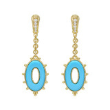 """Bahama Mama"" Turquoise & Diamond Drop Earrings"