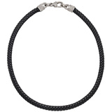 Braided Leather Cord Necklace with 18k White Gold & Diamond Clasp