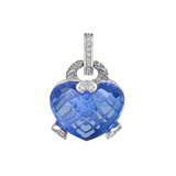 Blue Quartz Heart Pendant with Diamond